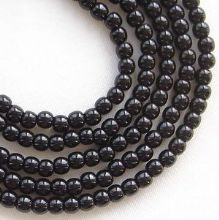 3mm Round Czech Glass Beads Jet  - 100